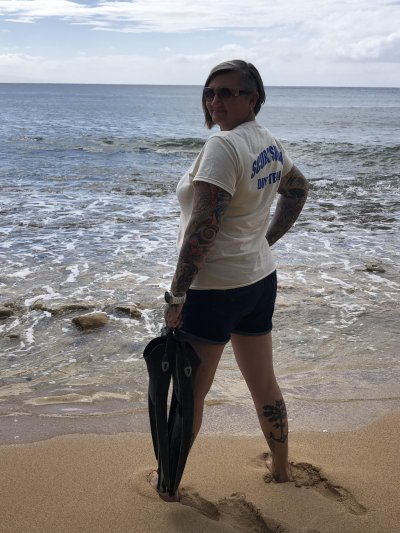 Photos of the Month - June 2021 Heather F sporting Scuba Shack gear on Maui,.